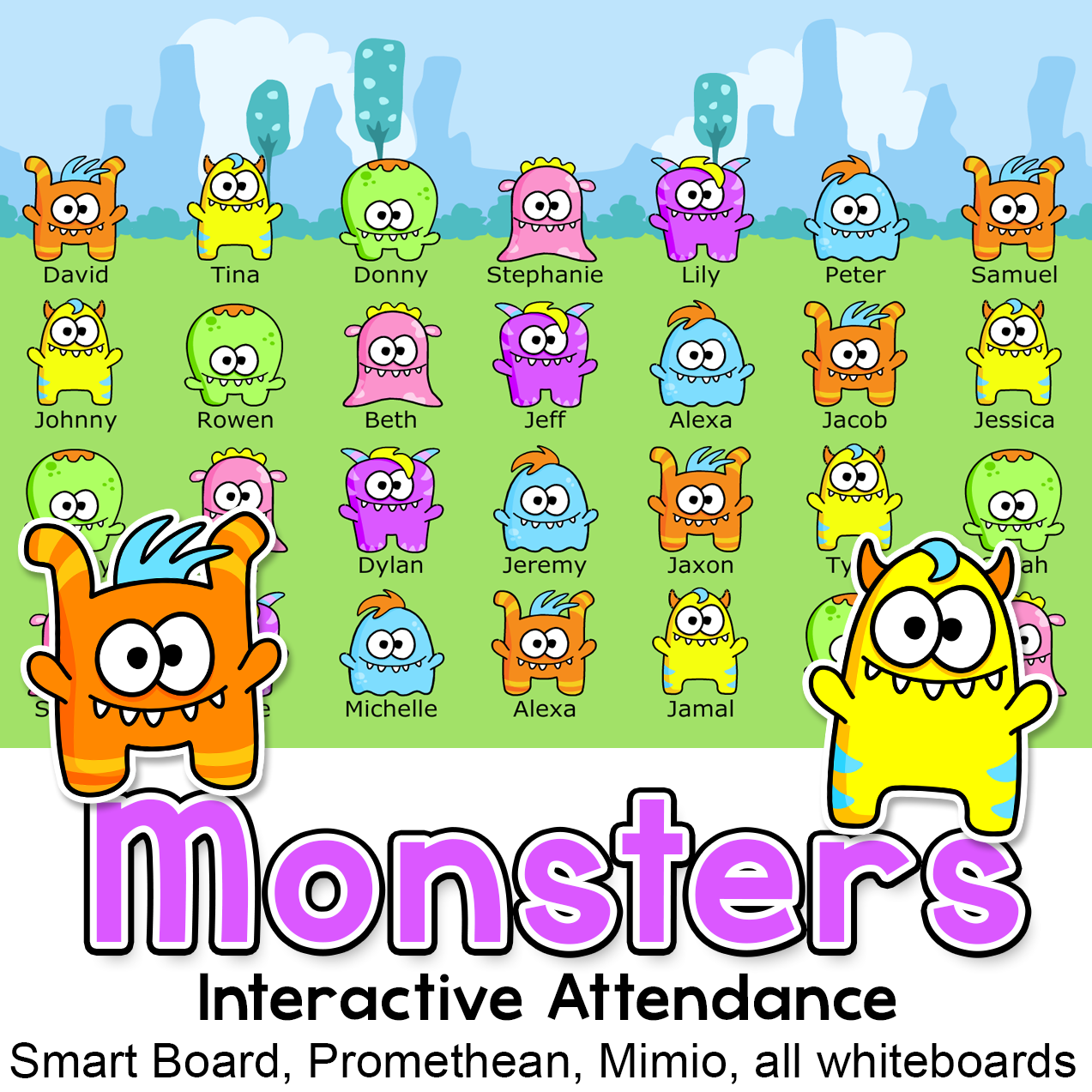 Monster Theme Interactive Attendance with Lunch Choices for.