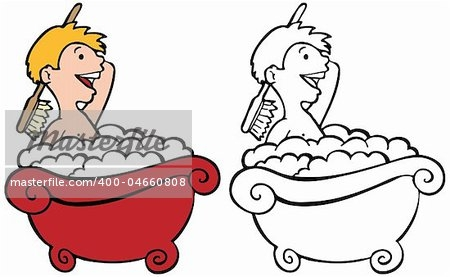 Boy Taking A Bath Clipart.