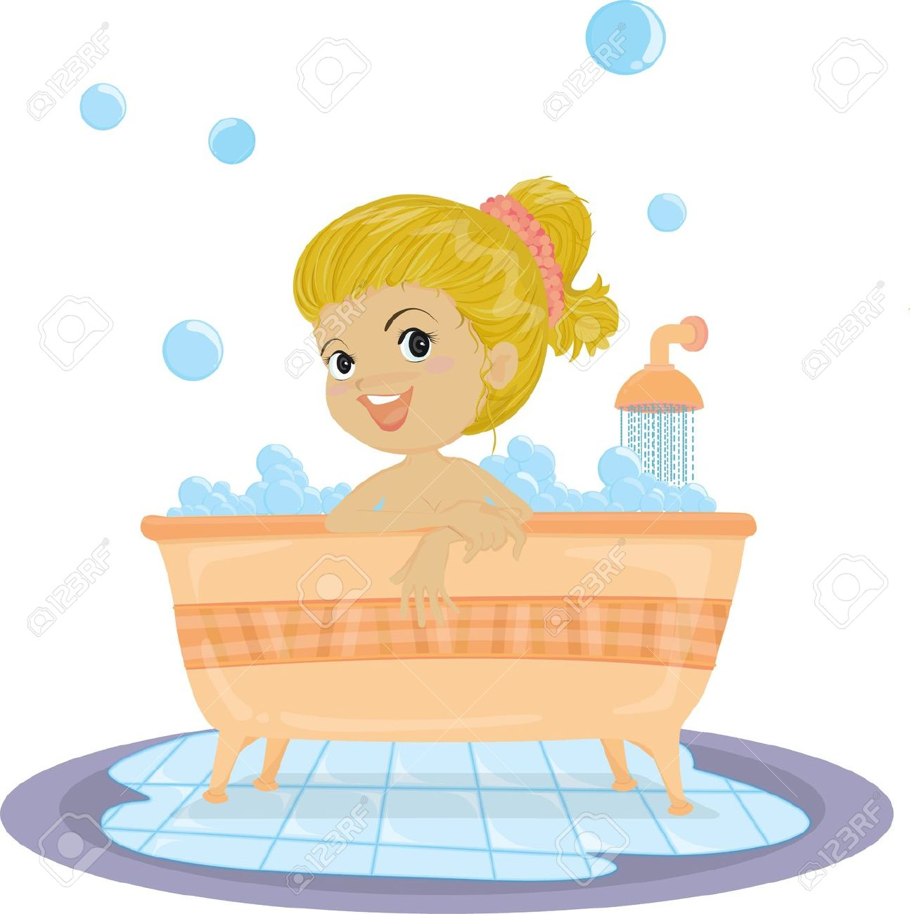 Girl take a bath clipart.