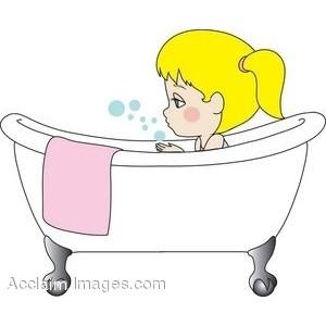 Taking a bath clipart.