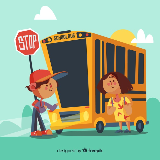 Illustration of boy and girl taking the bus back to school.