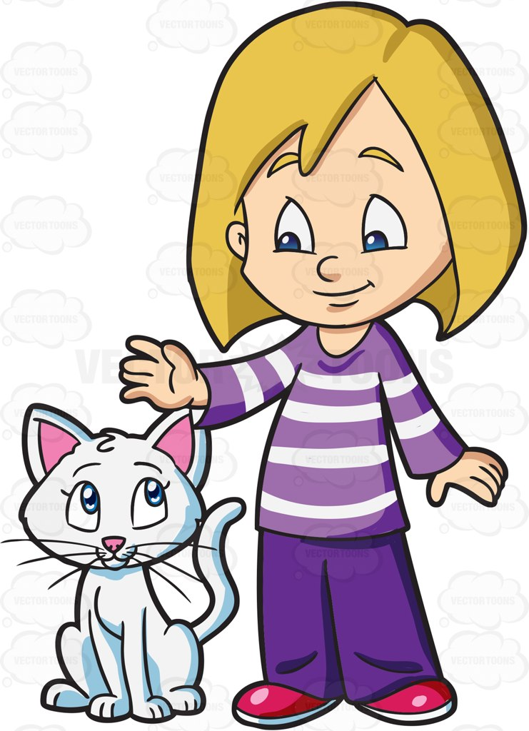 Girl With A Cat Clipart.
