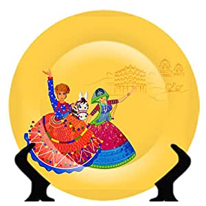 JIKRAA® Rare Handcrafted Folk Dance Design Ceramic Decorative Plate/Platter  with Stand.