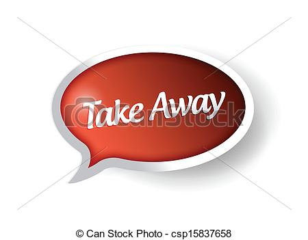 Clipart Vector of take away message bubble illustration design.