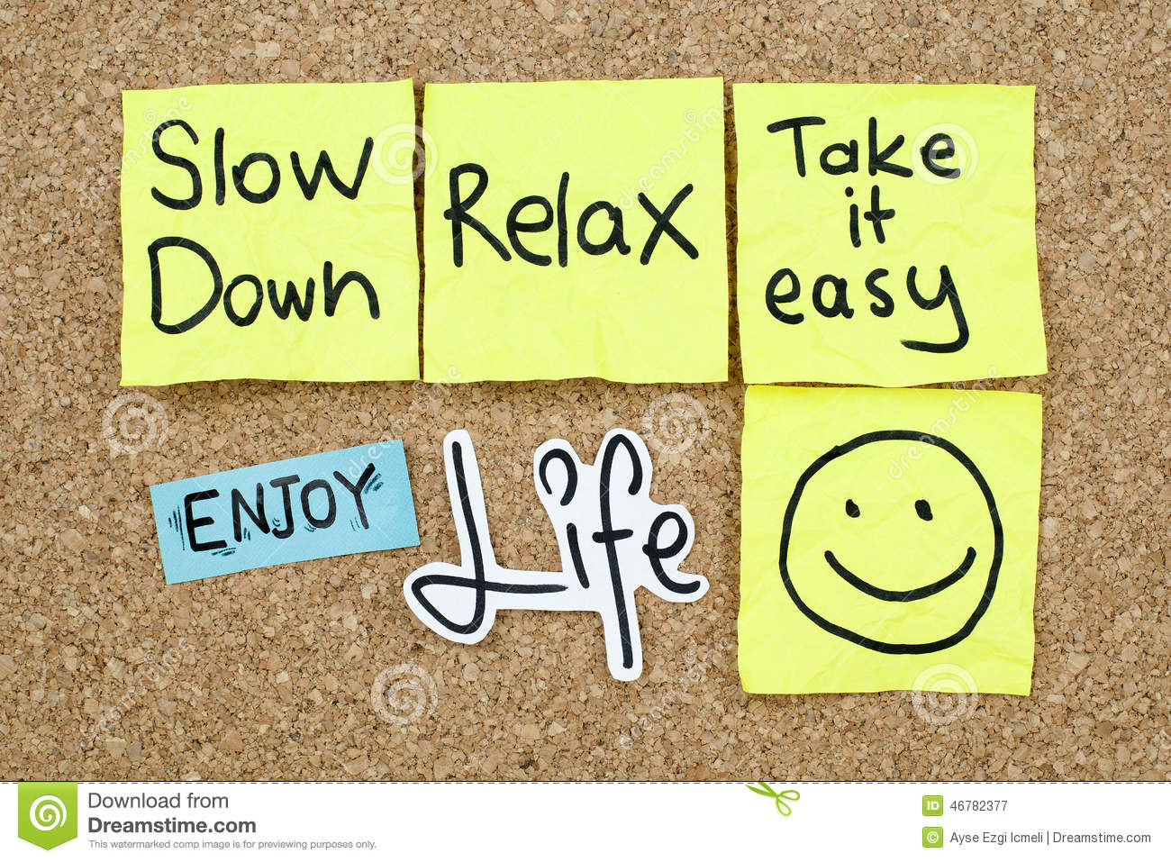 Take It Easy Relax Enjoy Life Stock Photo.