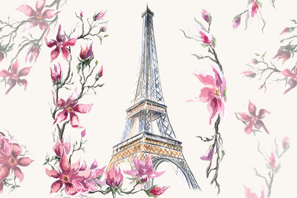Paris clipart, Watercolor Clipart, Eiffel Tower.