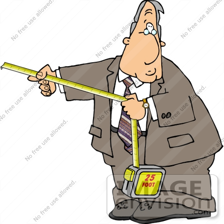Caucasian Business Man Using a Tape Measure Clipart.