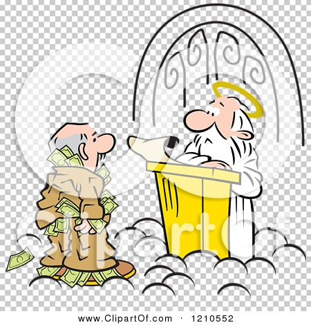 Cartoon of a Man Trying to Take Money Through Heavens Gates.