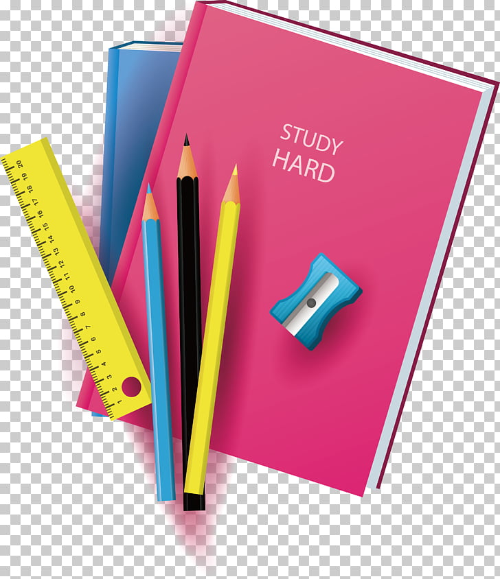 Paper Notebook, Study hard and take notes, book, pencils.
