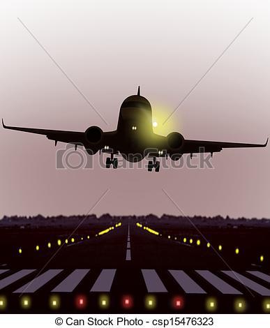 Stock Illustration of airplan take off during sunrise.