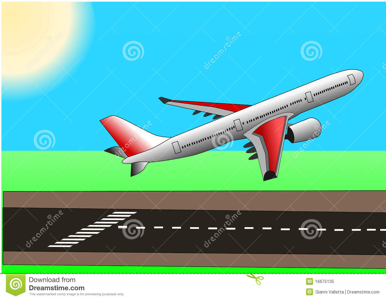 Aeroplane take off clipart.
