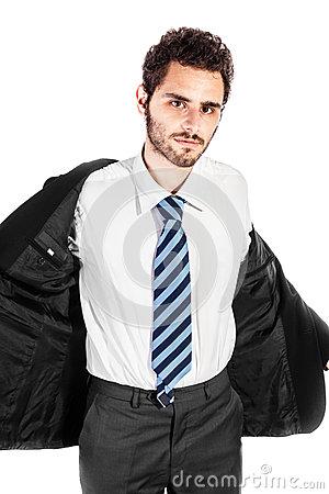 Businessman Taking Off Jacket. Stock Vector.