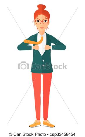 Clipart Vector of Woman taking off jacket..