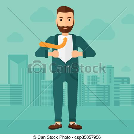 Clipart Vector of Businessman taking off jacket..