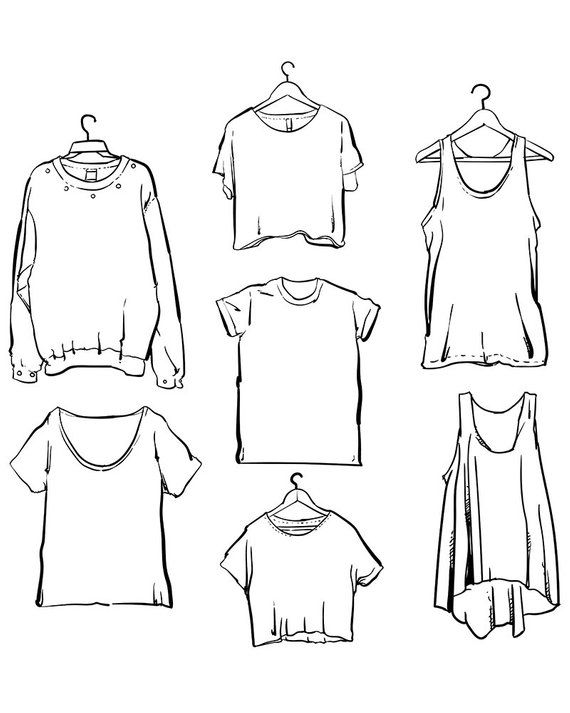 Vector Woman clothing set outline clipart commercial use.