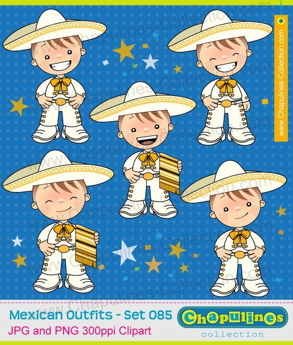 Clipart boys with charro suit, white and gold, mexican suit.