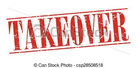 Vector Clip Art of takeover red grunge vintage stamp isolated on.