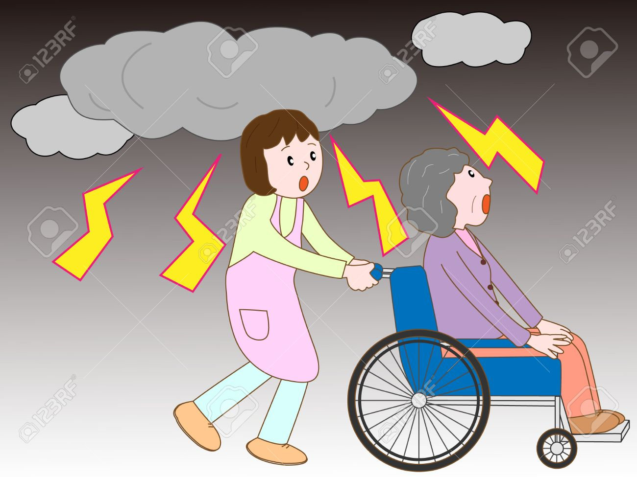Old Man In The Wheelchair To Take Refuge In The Lightning And.