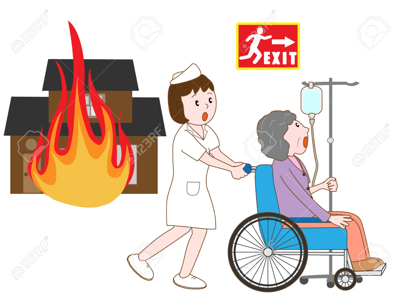 Hospitalized Patients To Take Refuge In A House Fire Royalty Free.