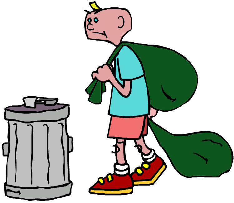 Man taking out the trash clipart.