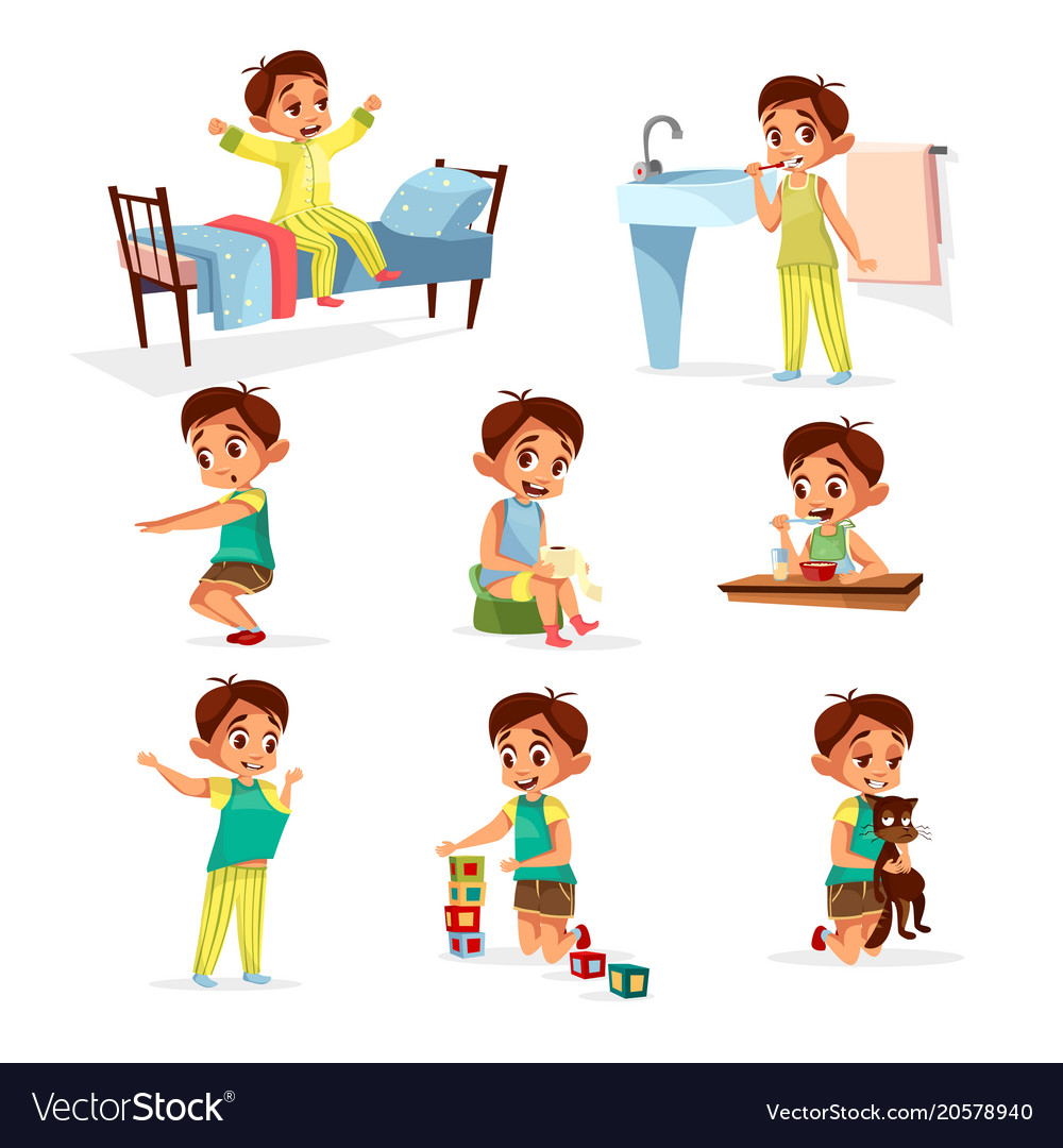 Cartoon boy daily routine activity set.