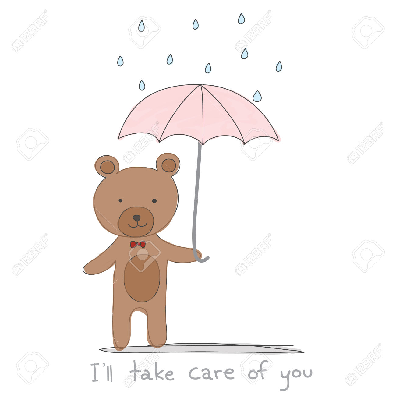 Brown Bear Holding Pink Umbrella With Rain Hand Drawn Style And.