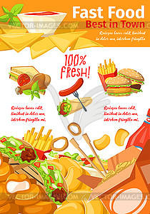 Fast food restaurant banner for takeaway menu.