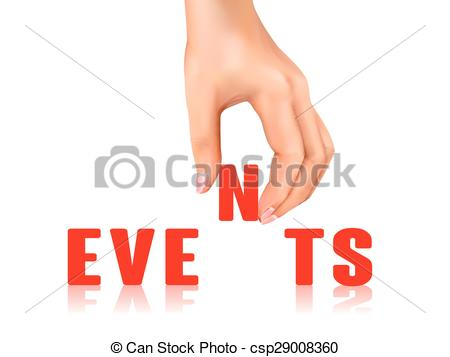 Clip Art Vector of events word taken away by hand over white.