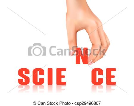 Clip Art Vector of science word taken away by hand over white.