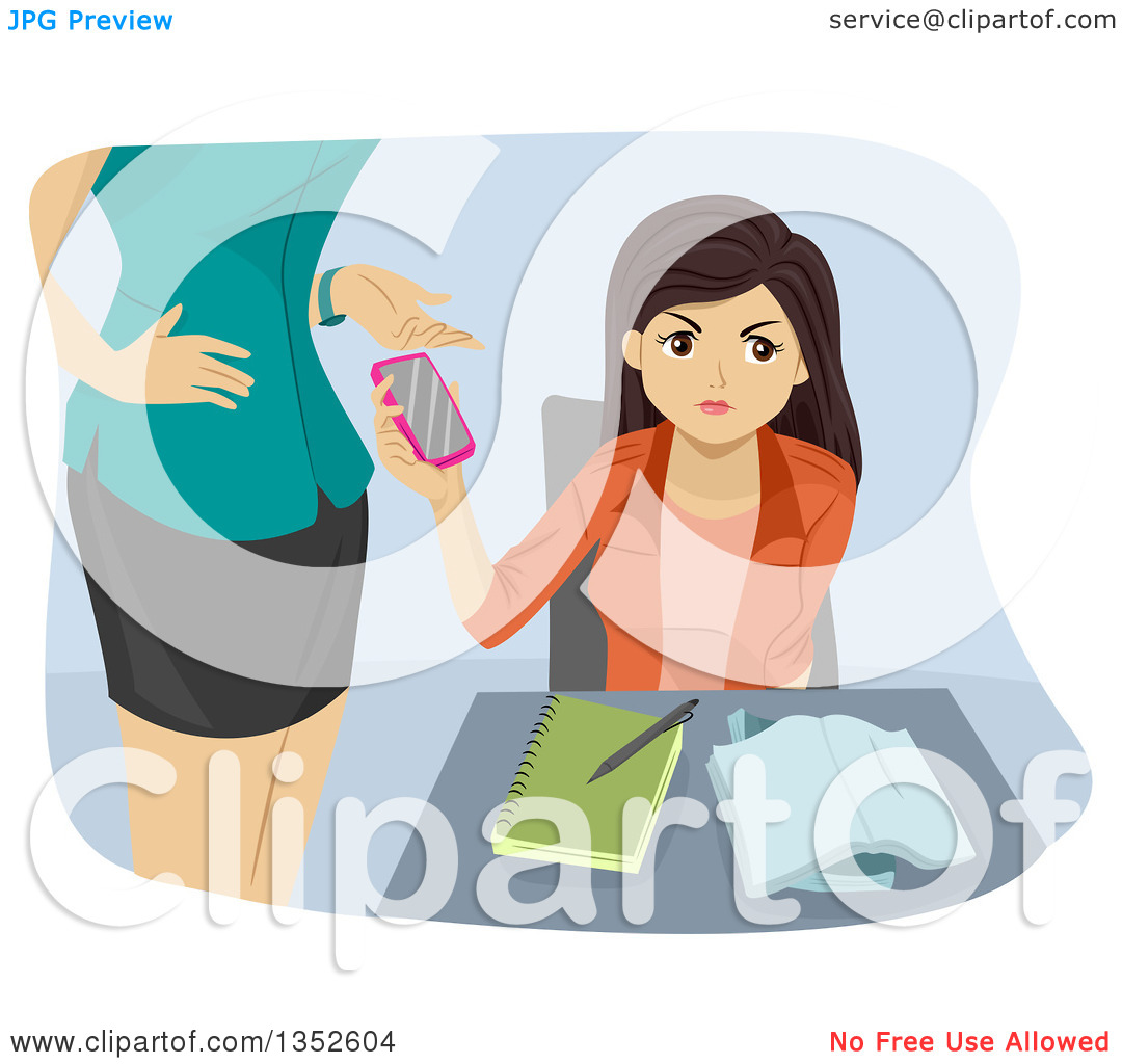 Clipart of a Brunette Caucasian Teenage Girl Having Her Cell Phone.