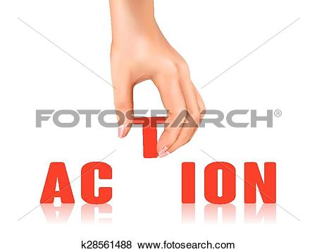 Clip Art of action word taken away by hand k28561488.