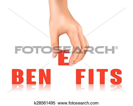 Clipart of benefits word taken away by hand k28561495.