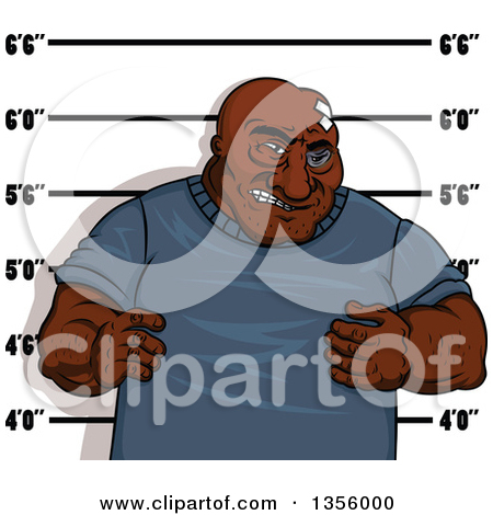 Clipart of a Gangster Man Getting His Mugshot Taken.