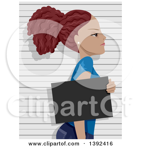 Clipart of a Scared Brunette White Woman Getting Her Mug Shot.