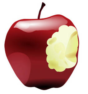 Clipart Picture of an Apple With a Bite Taken Out.