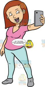 A Woman Enjoys Taking A Selfie.