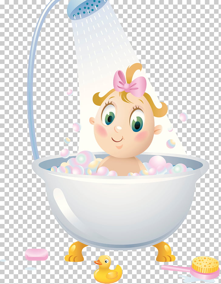 Shower Bathroom Child Bathtub Illustration, Bathroom with.