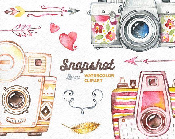 Snapshot. Watercolor handpainted cameras clipart, wedding.