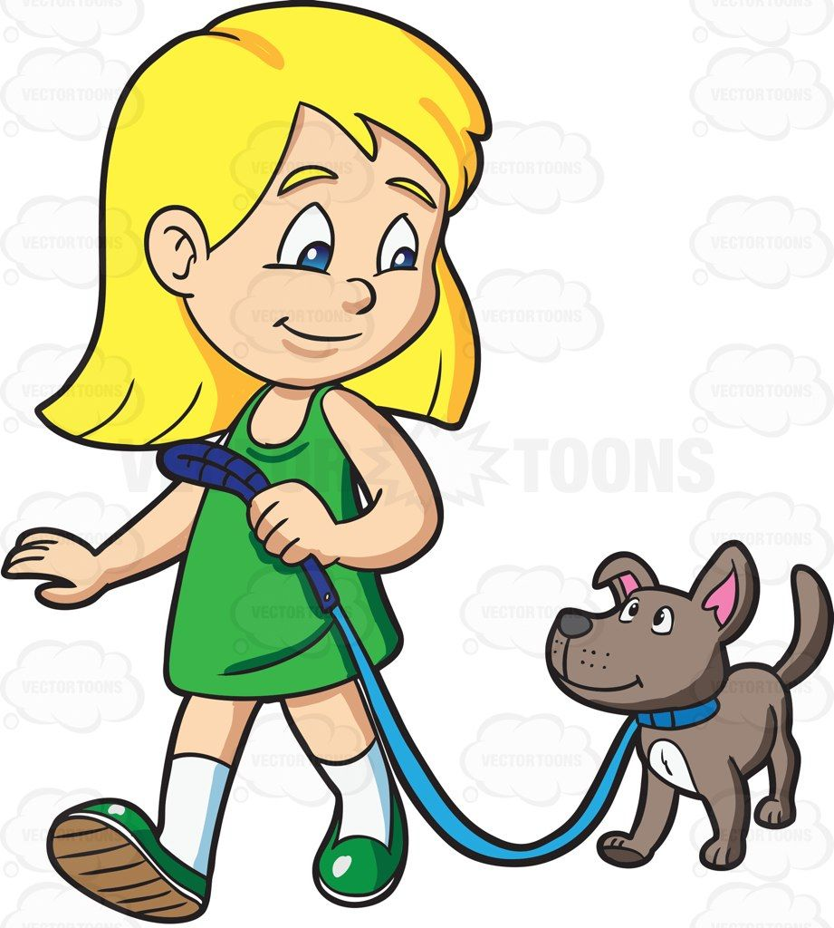 A girl takes her dog for a walk #cartoon #clipart #vector.