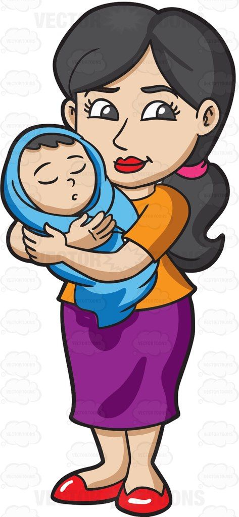 A mom taking care of her baby #cartoon #clipart #vector.