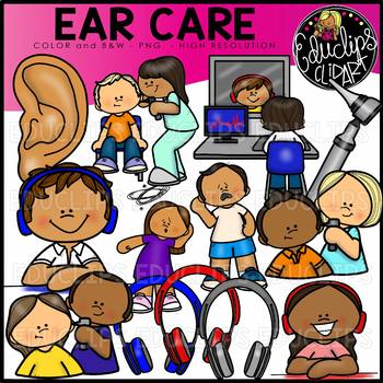 Ear Care Clip Art Set {Educlips Clipart}.