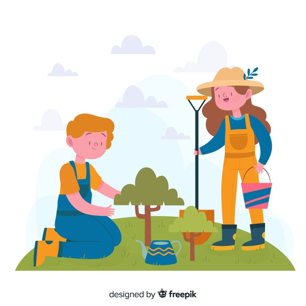 People taking care of plants Vector.