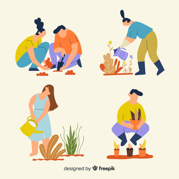 Set of people taking care of plants Vector.