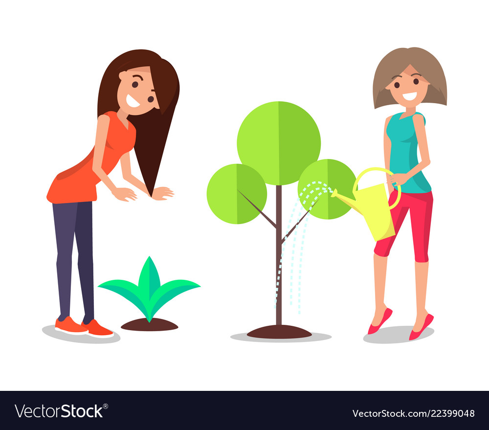 Smiling women take care about plants watering tree.