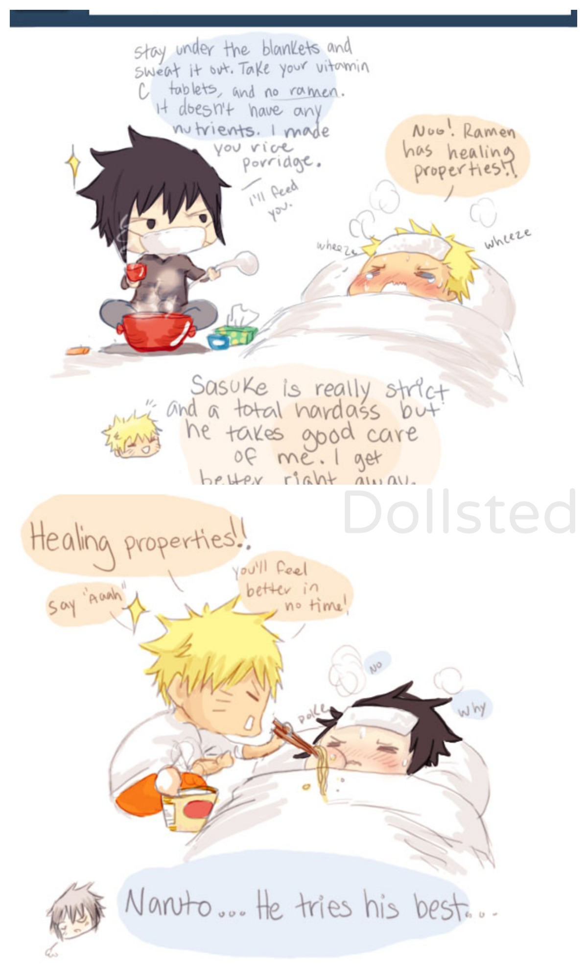 How do you and Naruto take care of eachother if you're sick.