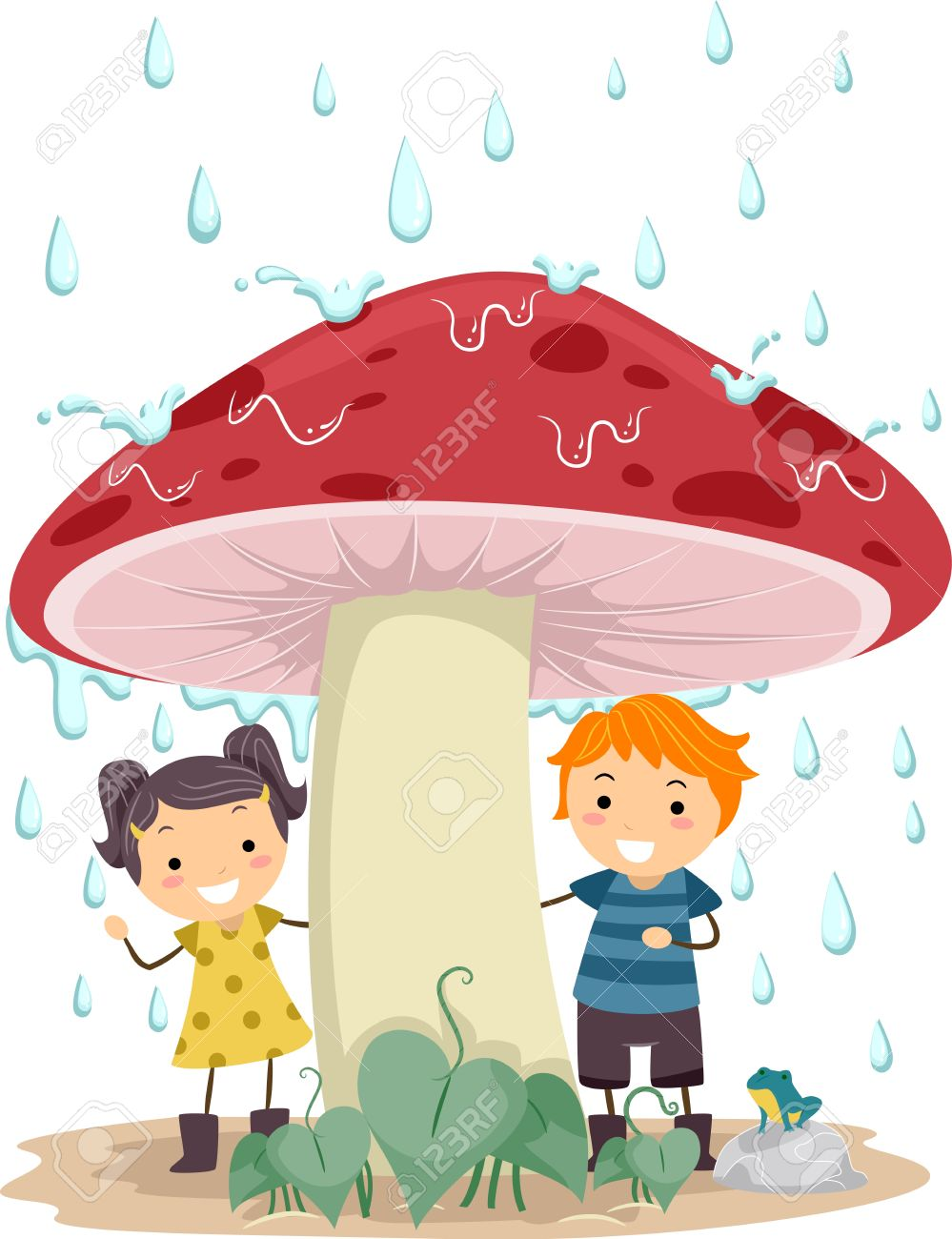 Illustration Of Kids Taking Cover From The Rain Stock Photo.