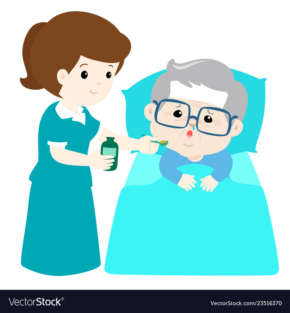 Ill grandfather taking medicine with spoon.