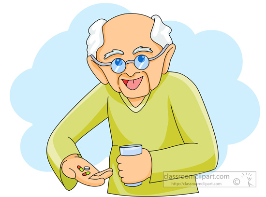 Old man taking medicine pills » Clipart Station.