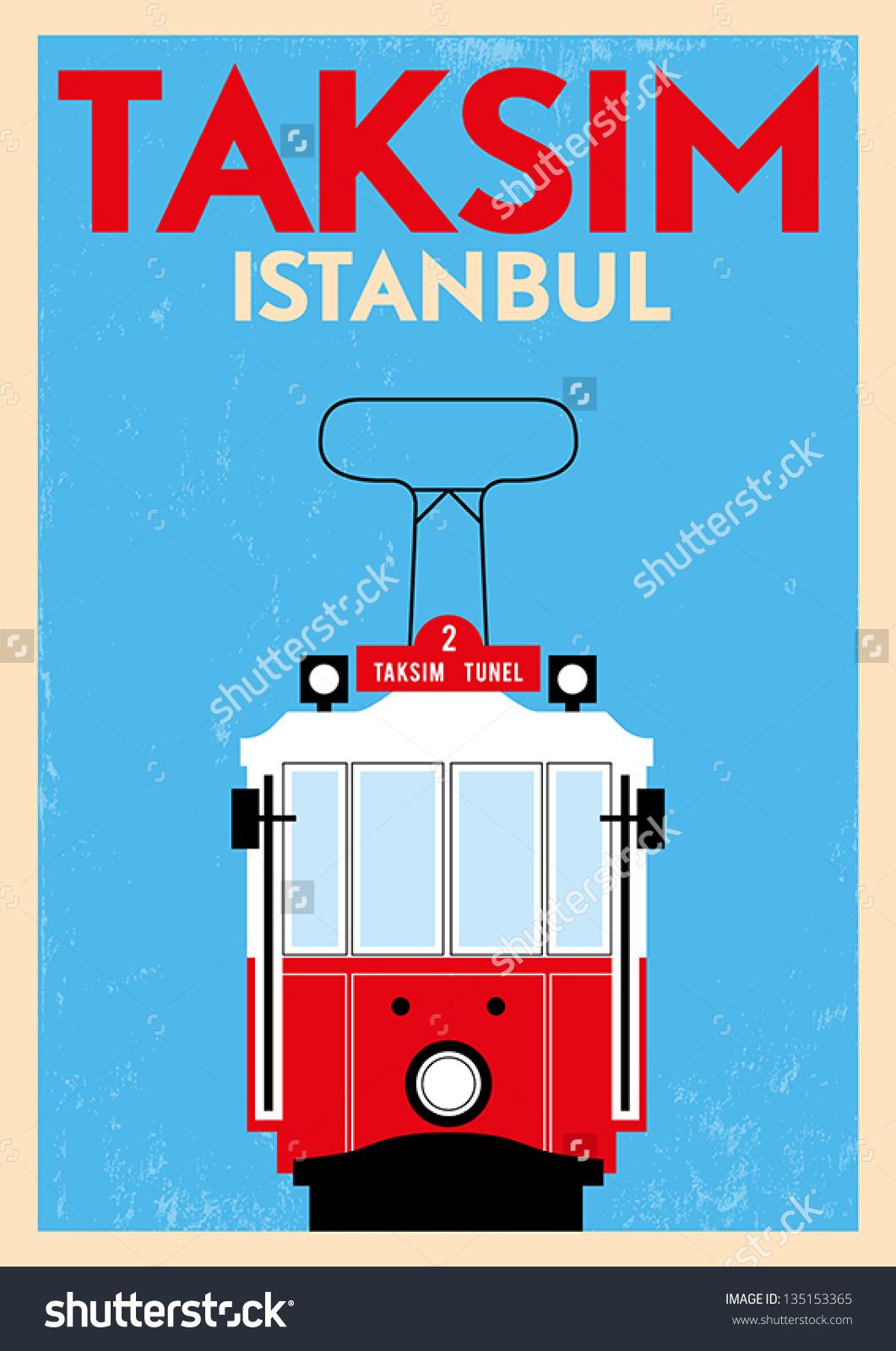 Vintage Taksim Poster Stock Vector Illustration 135153365.