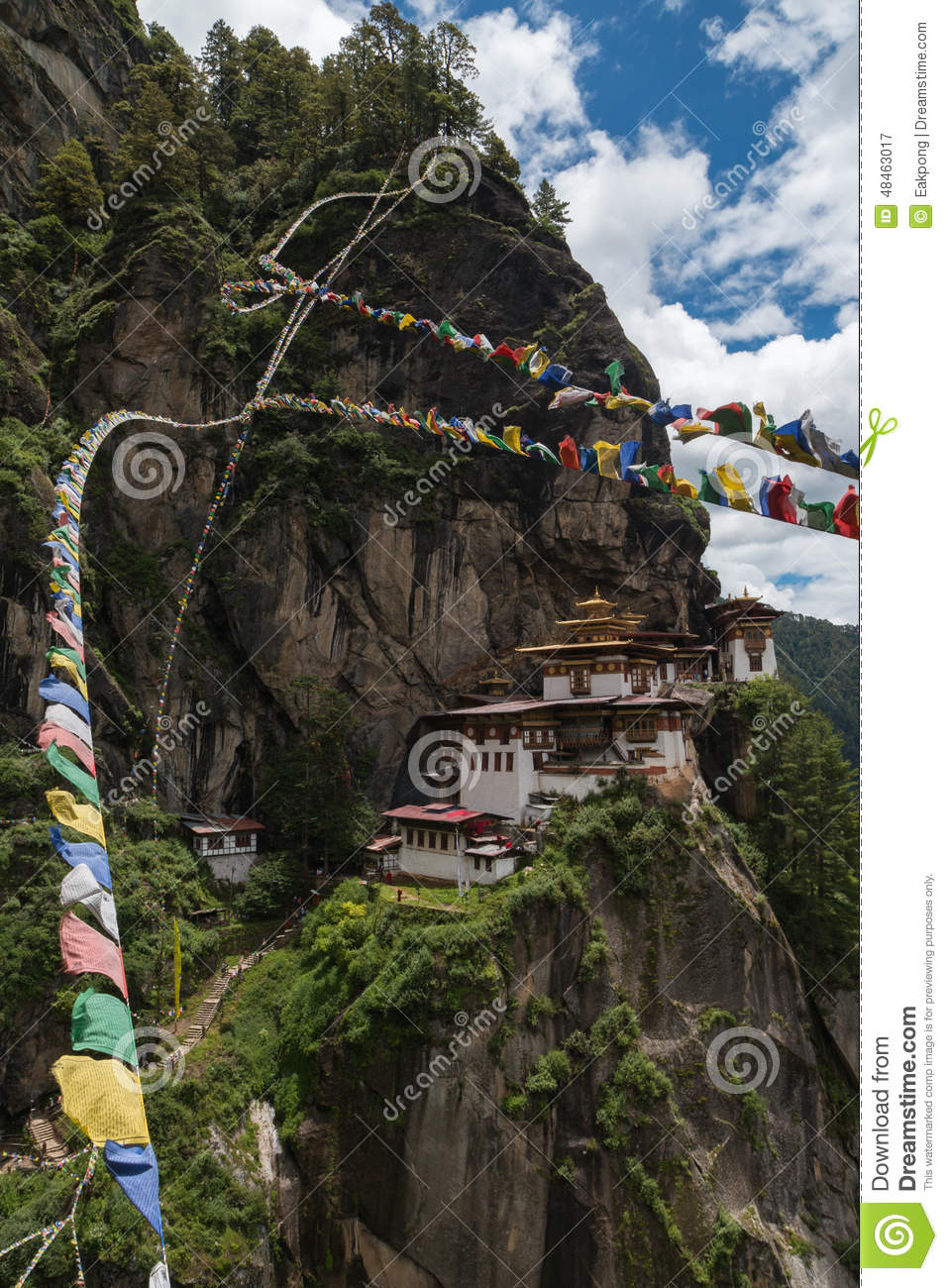 Taktsang Palphug Monastery With Prayer Flag (also Known As The.